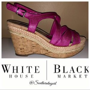 Worn 2X💜WHBM💜Pink Platform Wedge Sandals